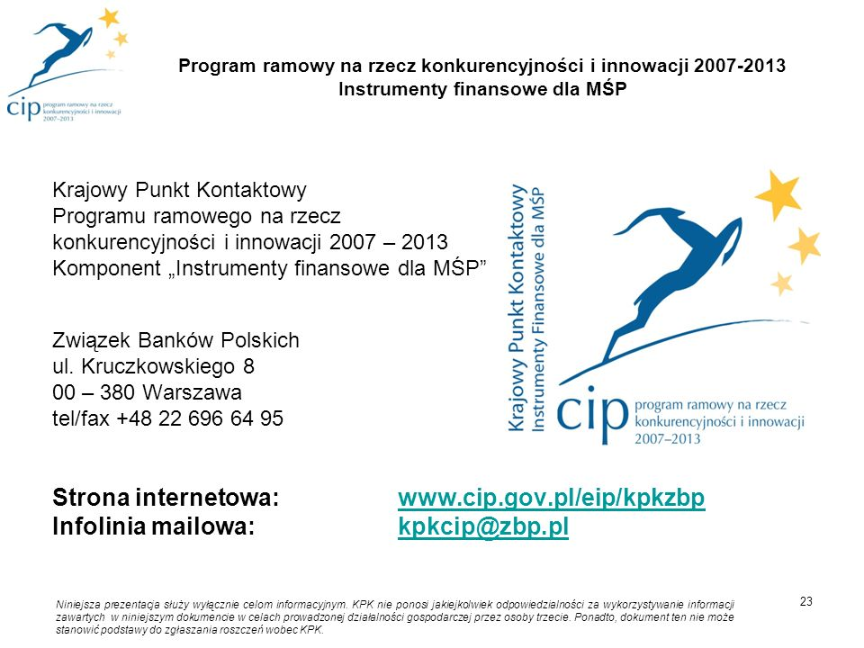 Strona internetowa: www.cip.gov.pl/eip/kpkzbp