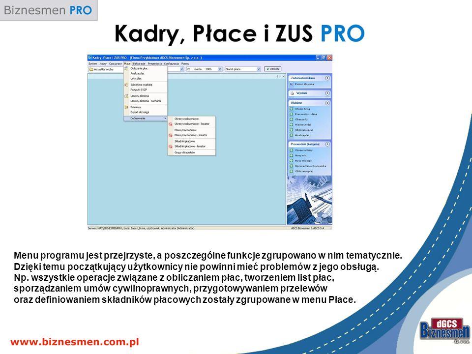 Menu programu jest przejrzyste, a poszczególne funkcje zgrupowano w nim tematycznie.