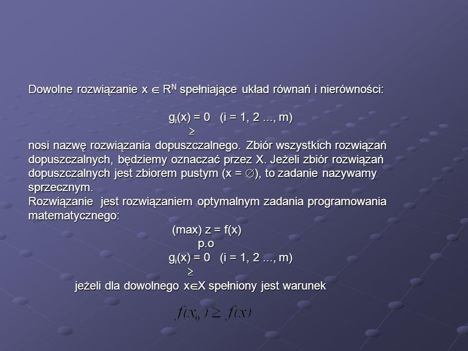 Dowolne rozwiązanie x  RN spełniające układ równań i nierówności: