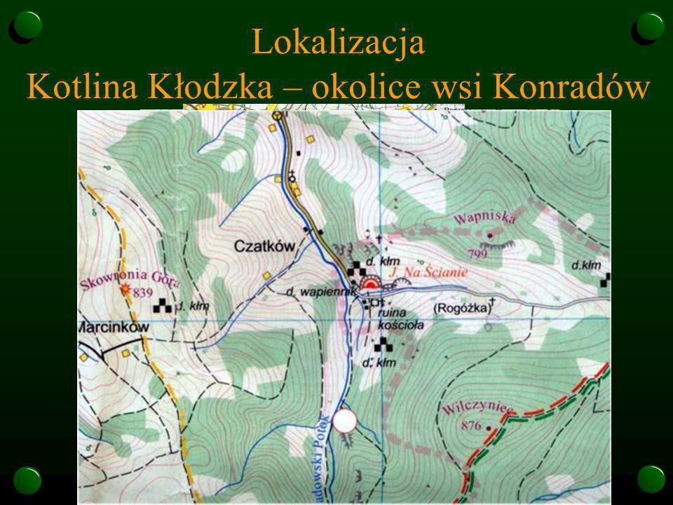 Lokalizacja Kotlina Kłodzka – okolice wsi Konradów