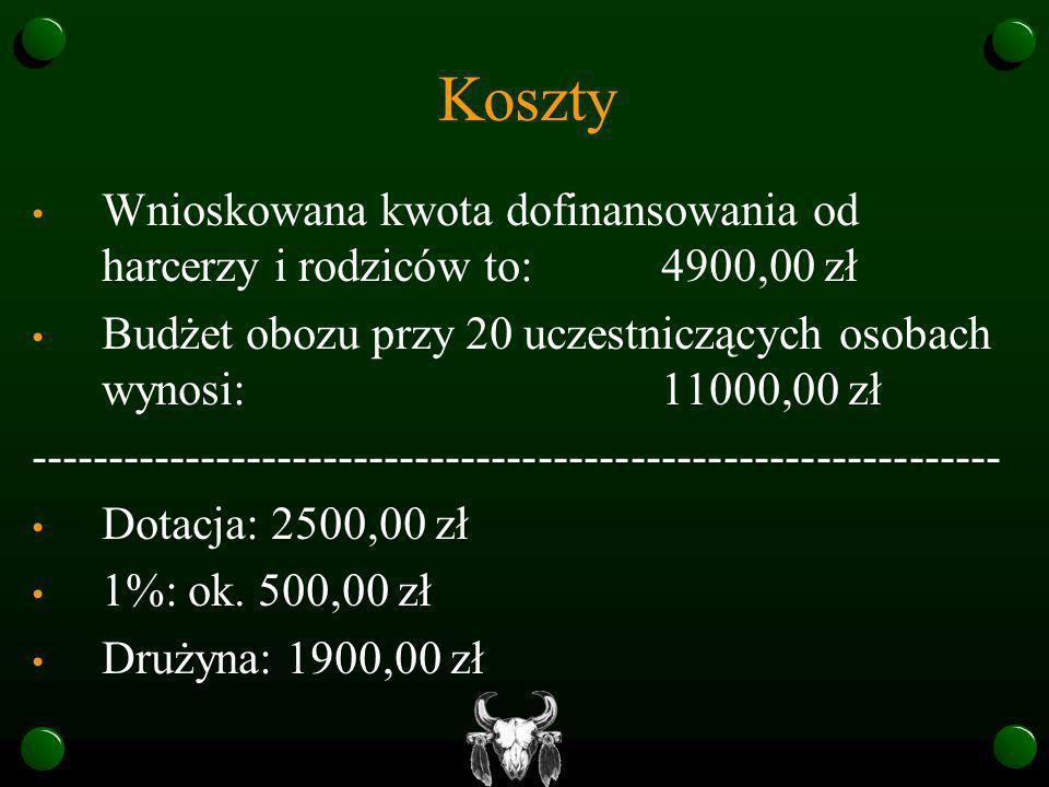 KosztyWnioskowana kwota dofinansowania od harcerzy i rodziców to: 4900,00 zł. Budżet obozu przy 20 uczestniczących osobach wynosi: 11000,00 zł.