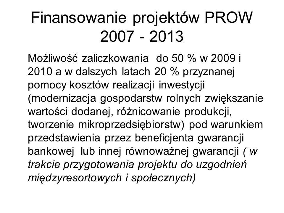 Finansowanie projektów PROW 2007 - 2013