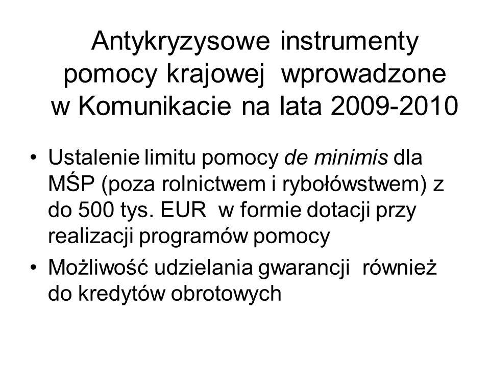 Antykryzysowe instrumenty pomocy krajowej wprowadzone w Komunikacie na lata 2009-2010