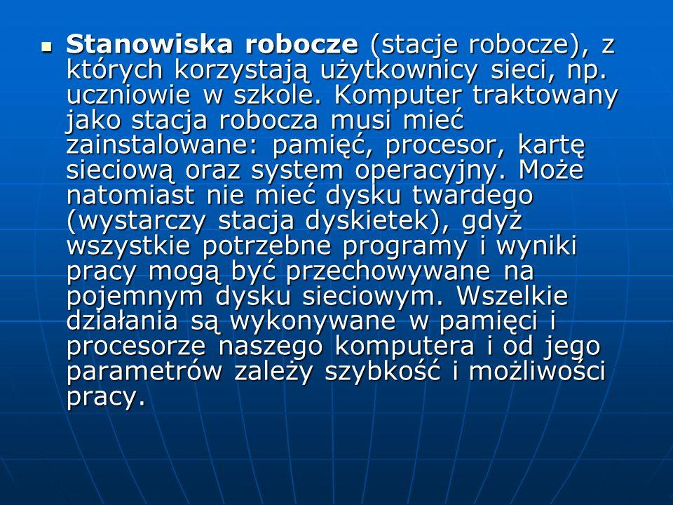 Stanowiska robocze (stacje robocze), z których korzystają użytkownicy sieci, np.