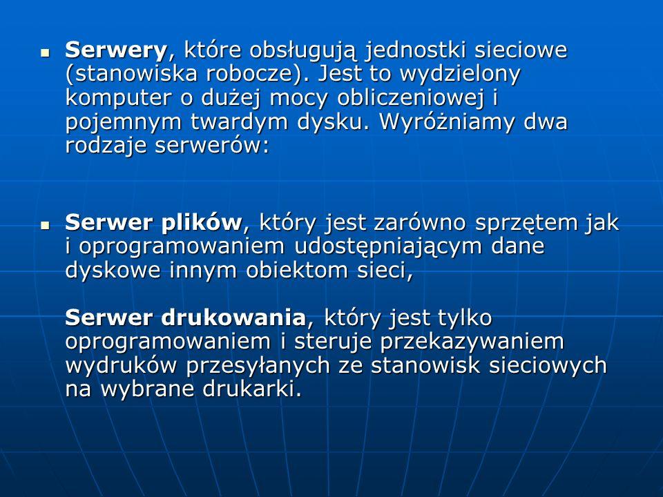 Serwery, które obsługują jednostki sieciowe (stanowiska robocze)