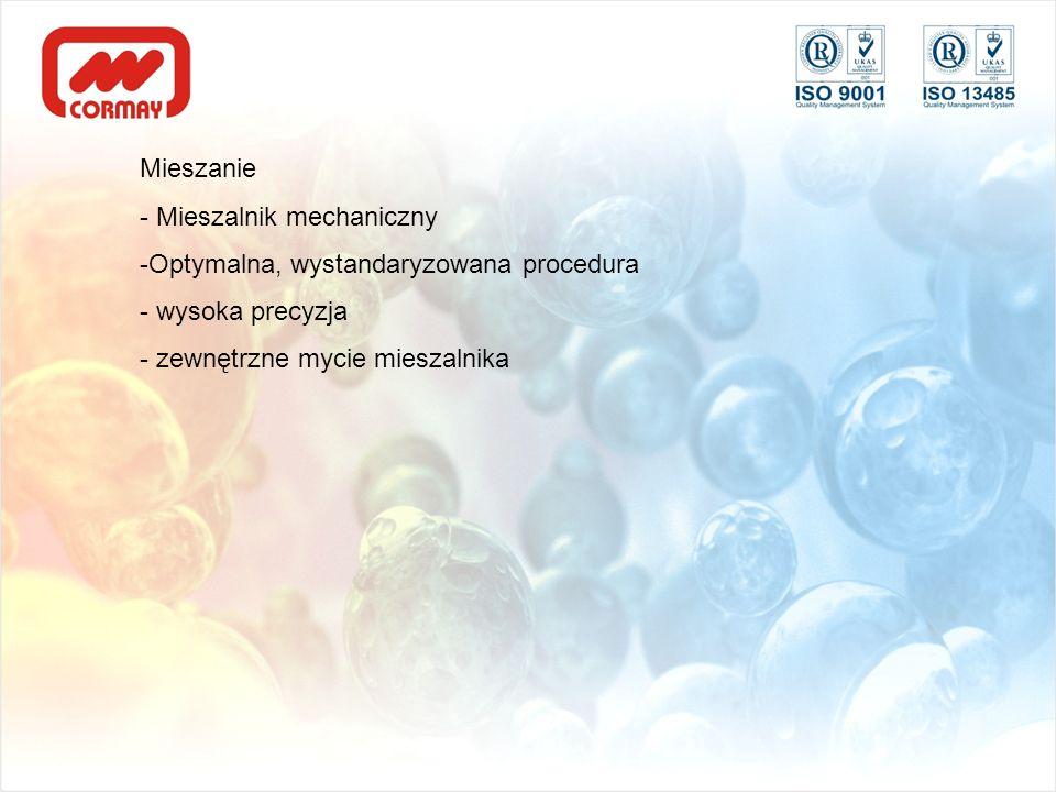 Mieszanie - Mieszalnik mechaniczny. Optymalna, wystandaryzowana procedura.