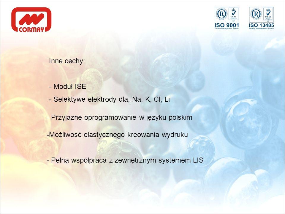 Inne cechy: - Moduł ISE. - Selektywe elektrody dla, Na, K, Cl, Li. - Przyjazne oprogramowanie w języku polskim.
