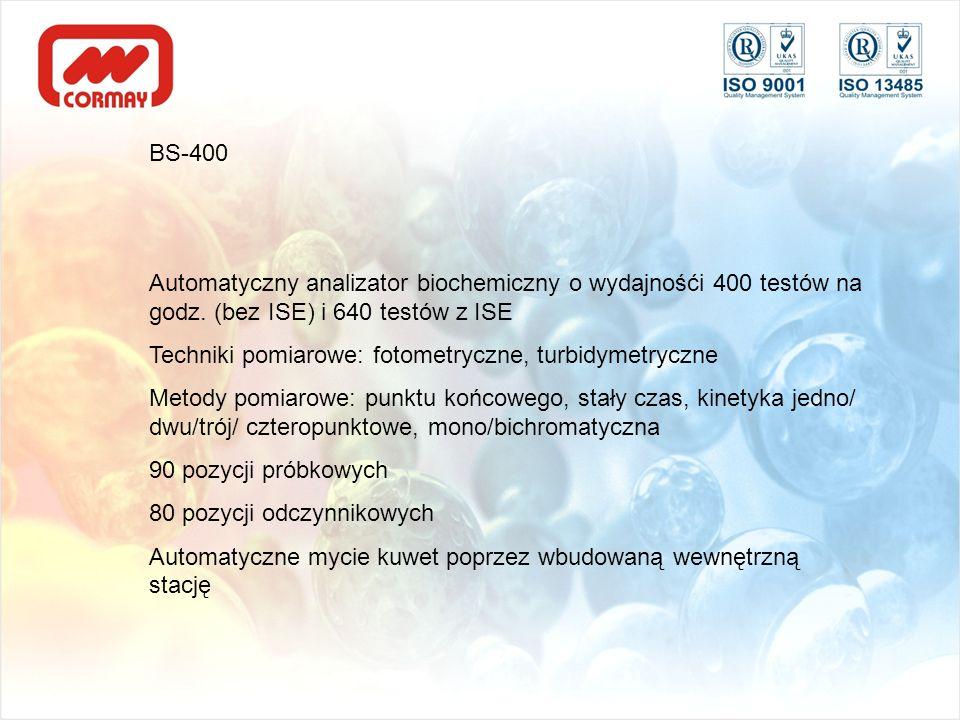 BS-400Automatyczny analizator biochemiczny o wydajnośći 400 testów na godz. (bez ISE) i 640 testów z ISE.