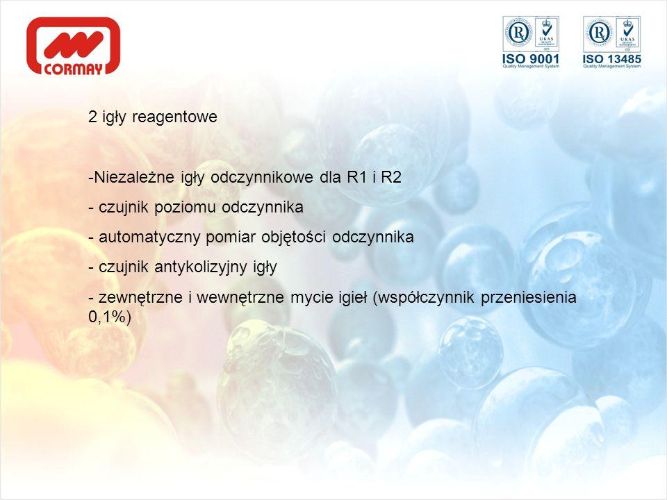2 igły reagentoweNiezależne igły odczynnikowe dla R1 i R2. czujnik poziomu odczynnika. automatyczny pomiar objętości odczynnika.