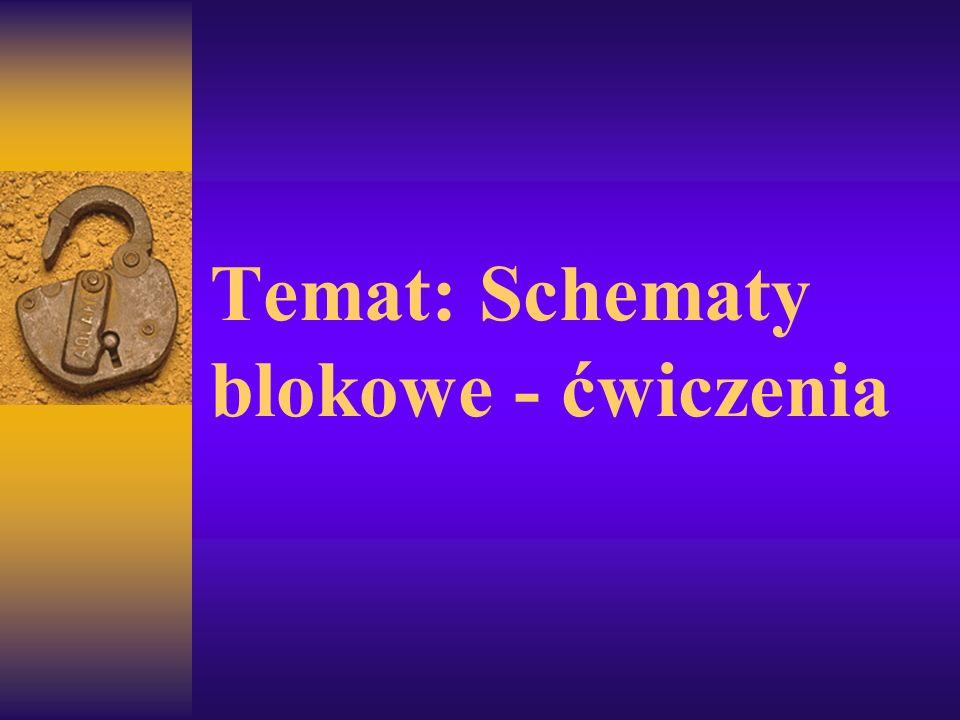 Temat: Schematy blokowe - ćwiczenia