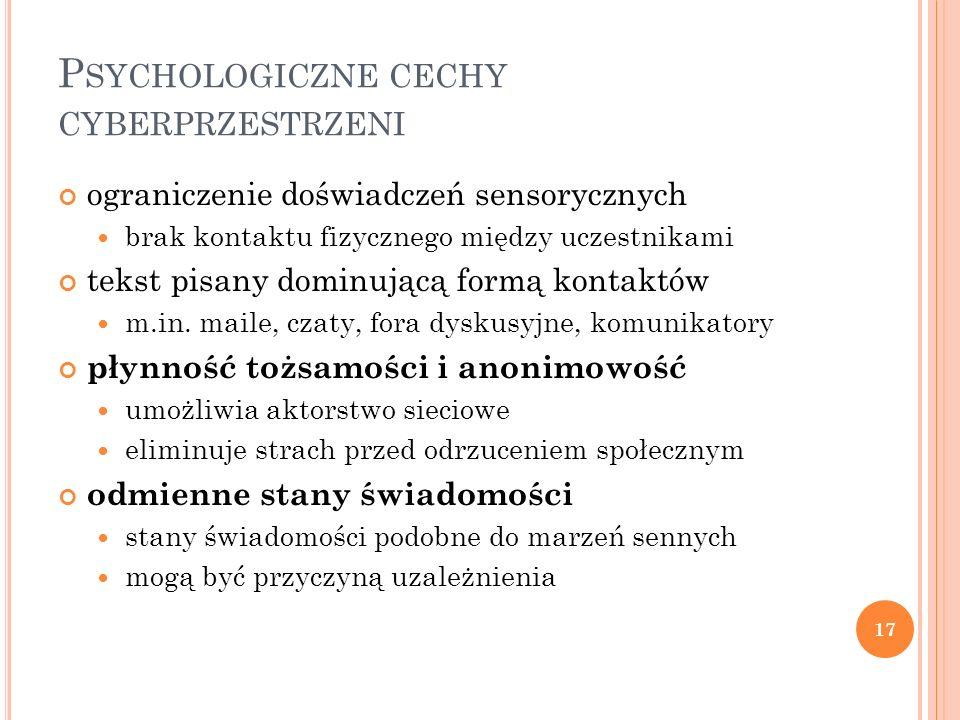 Psychologiczne cechy cyberprzestrzeni