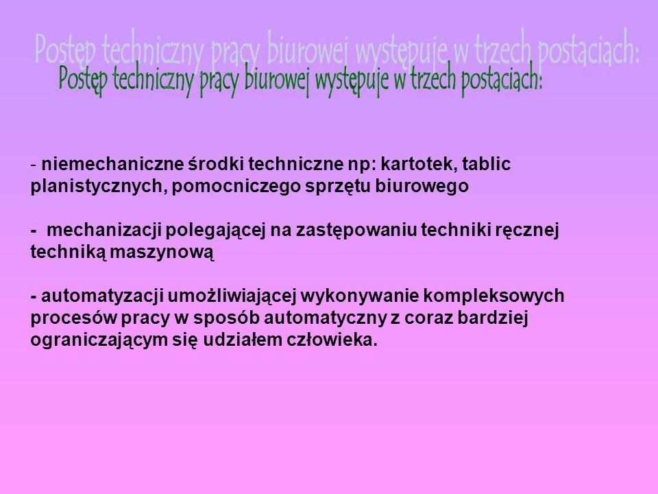 Postęp techniczny pracy biurowej występuje w trzech postaciach: