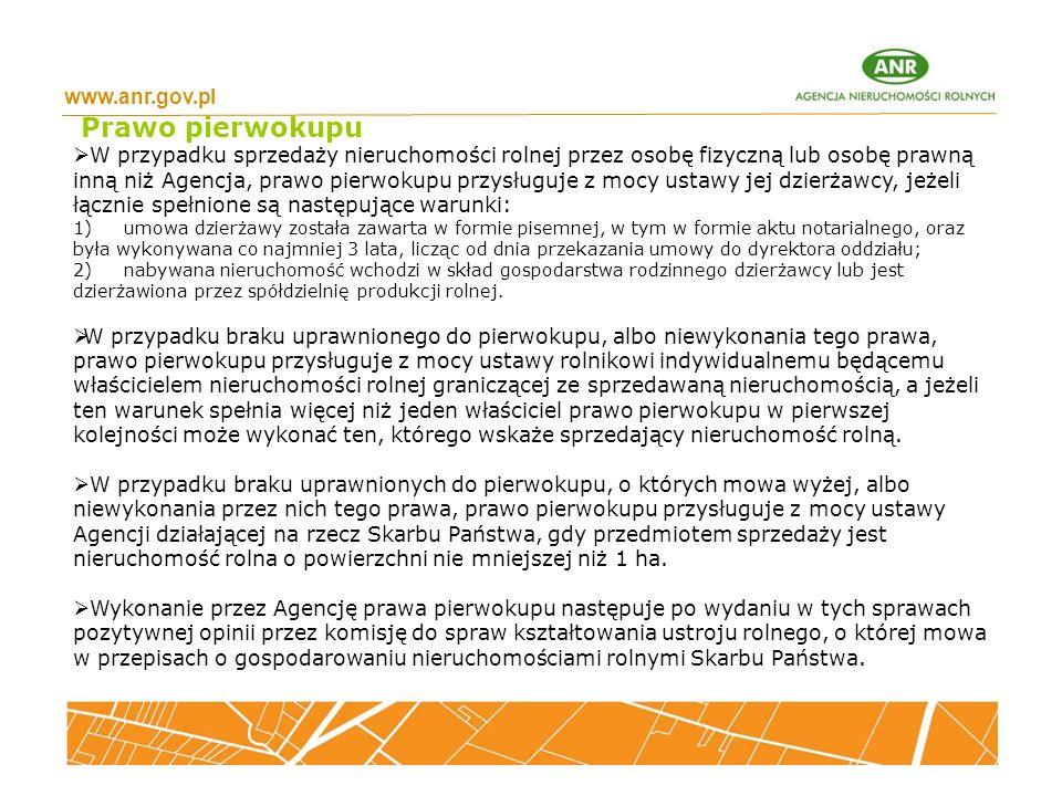 Prawo pierwokupu www.anr.gov.pl