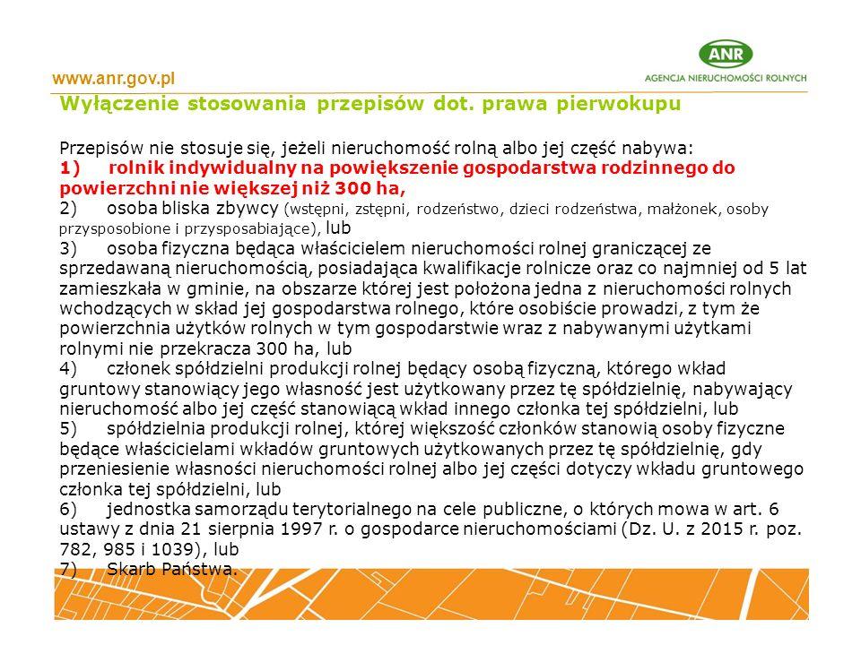 Wyłączenie stosowania przepisów dot. prawa pierwokupu
