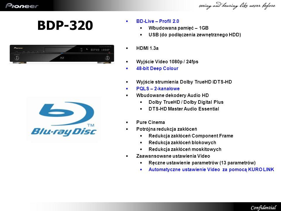 BDP-320 10 BD-Live – Profil 2.0 Wbudowana pamięć – 1GB