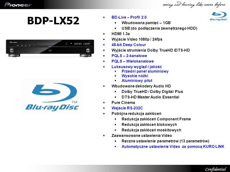 BDP-LX52 12 BD-Live – Profil 2.0 Wbudowana pamięć – 1GB