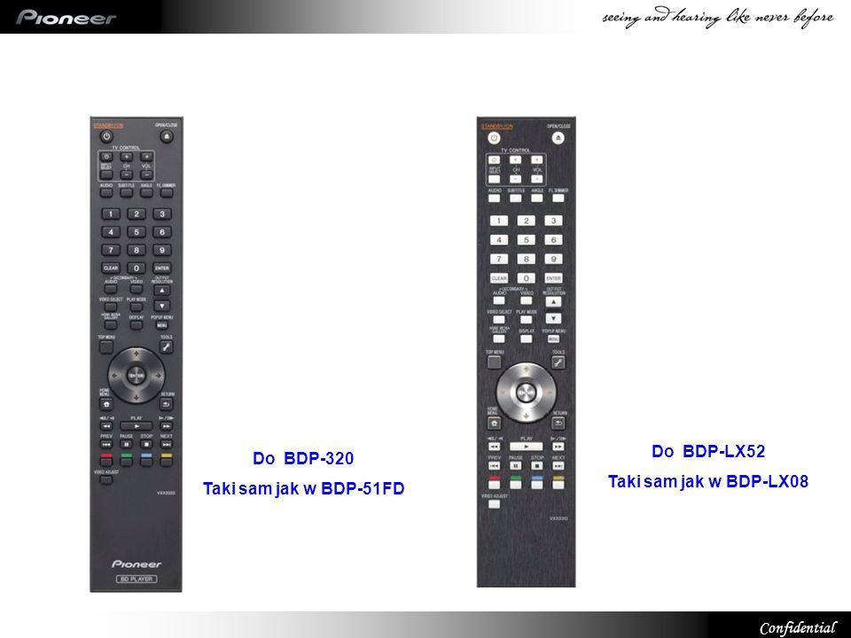 Do BDP-LX52 Taki sam jak w BDP-LX08 Do BDP-320 Taki sam jak w BDP-51FD