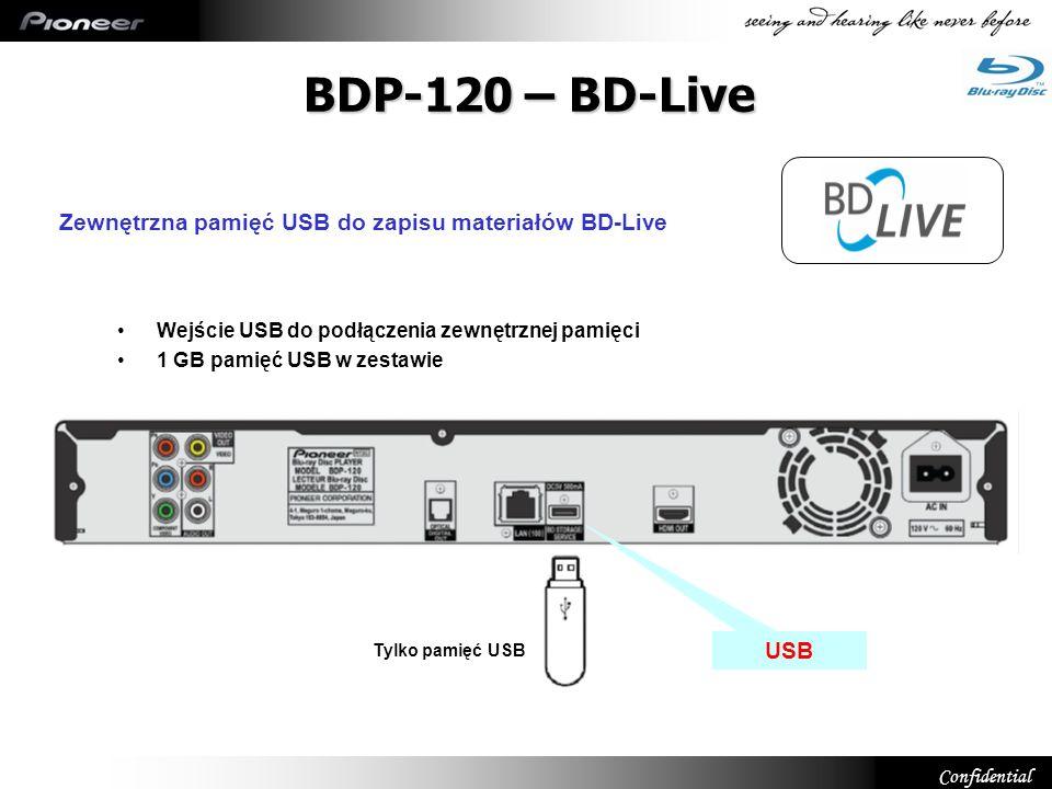 BDP-120 – BD-Live Zewnętrzna pamięć USB do zapisu materiałów BD-Live