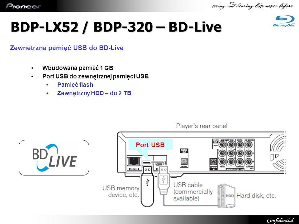 BDP-LX52 / BDP-320 – BD-Live Zewnętrzna pamięć USB do BD-Live Port USB