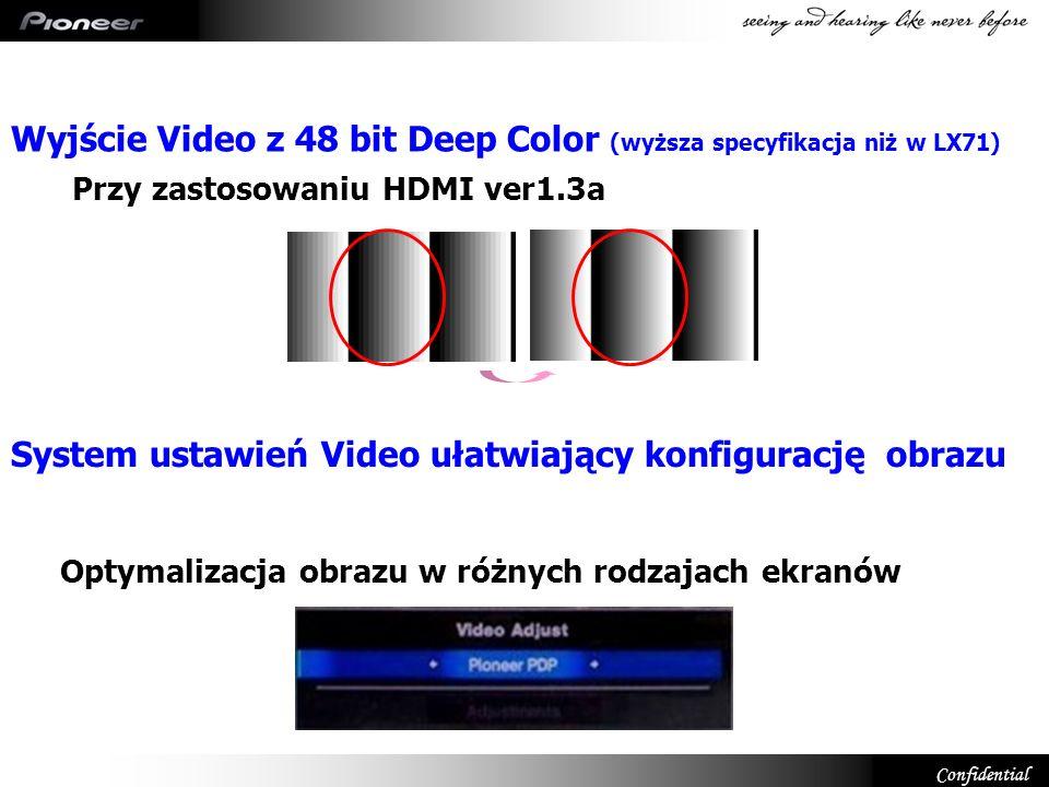 Wyjście Video z 48 bit Deep Color (wyższa specyfikacja niż w LX71)