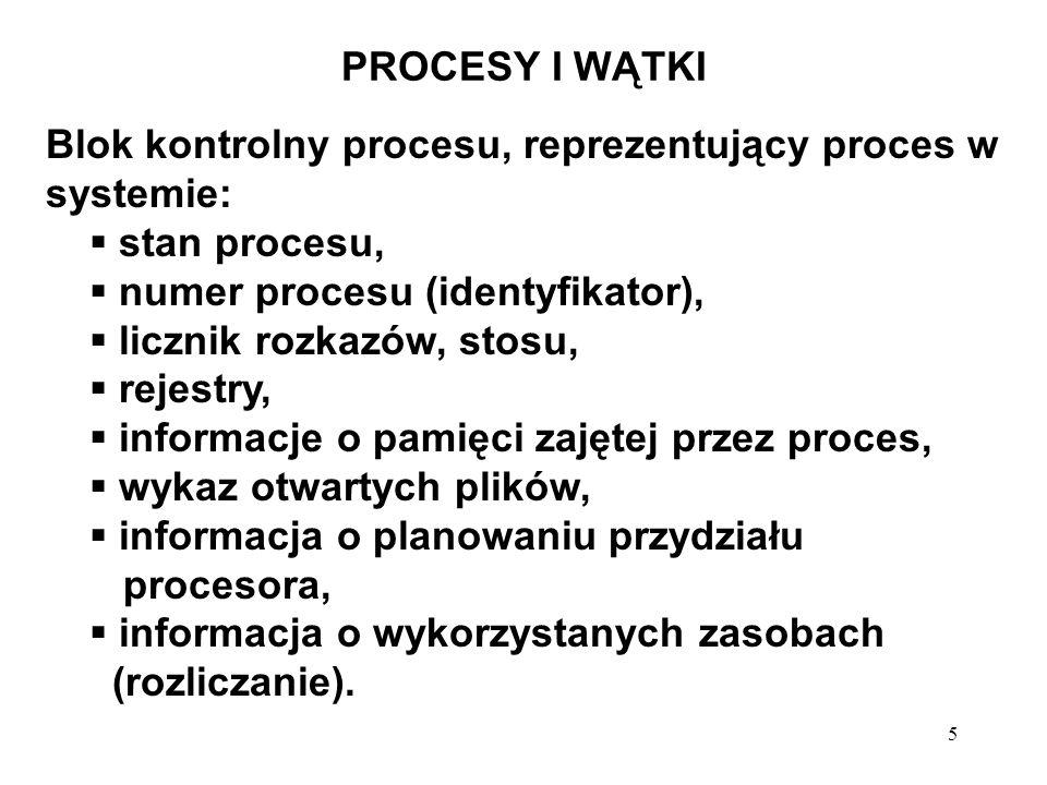 PROCESY I WĄTKIBlok kontrolny procesu, reprezentujący proces w systemie: stan procesu, numer procesu (identyfikator),