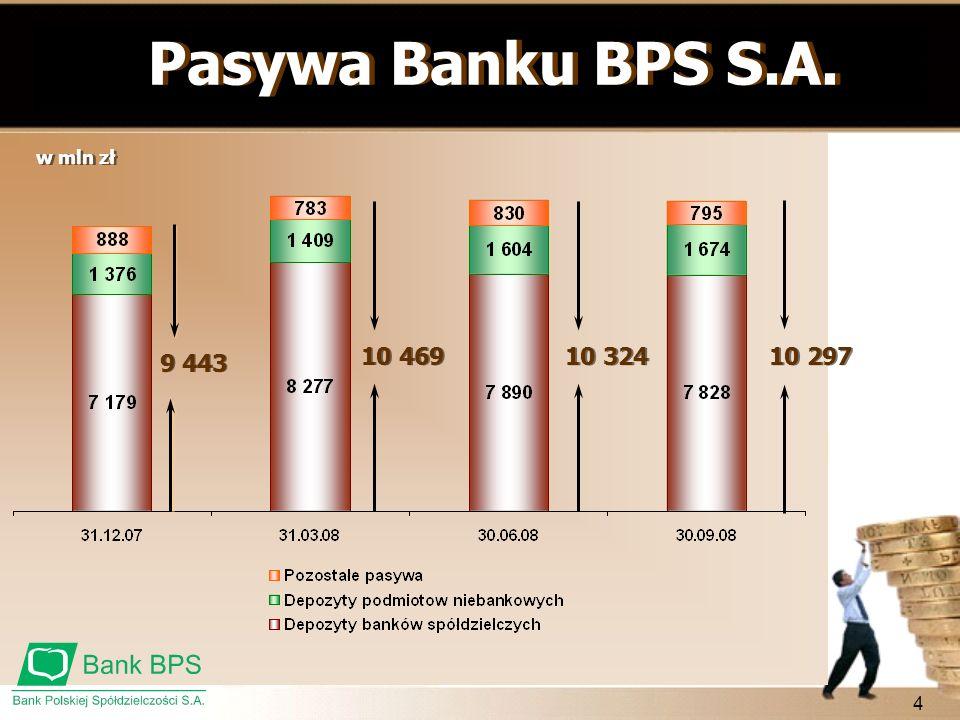 Pasywa Banku BPS S.A. 10 469 10 324 10 297 9 443 w mln zł