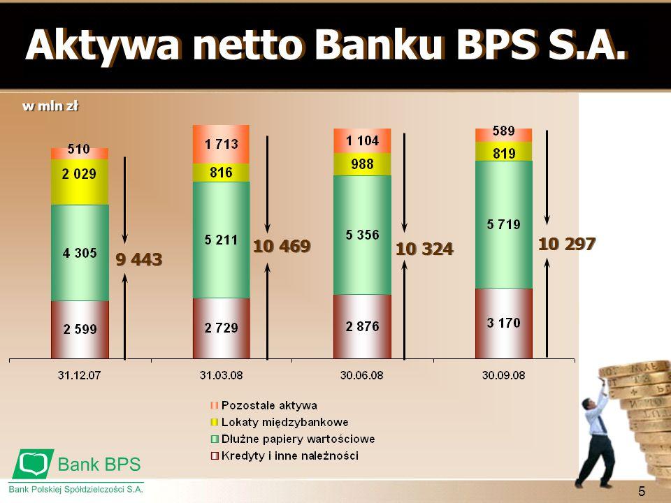 Aktywa netto Banku BPS S.A.