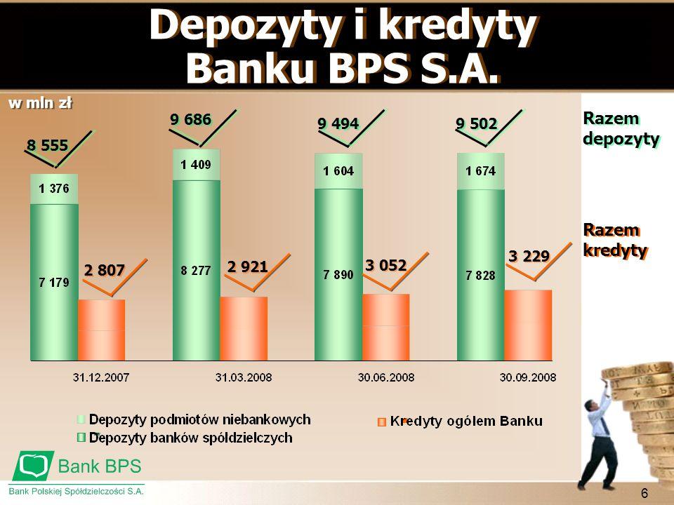 Depozyty i kredyty Banku BPS S.A.