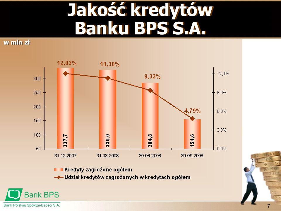 Jakość kredytów Banku BPS S.A.