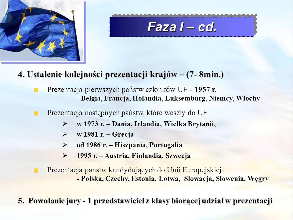 Faza I – cd. 4. Ustalenie kolejności prezentacji krajów – (7- 8min.)