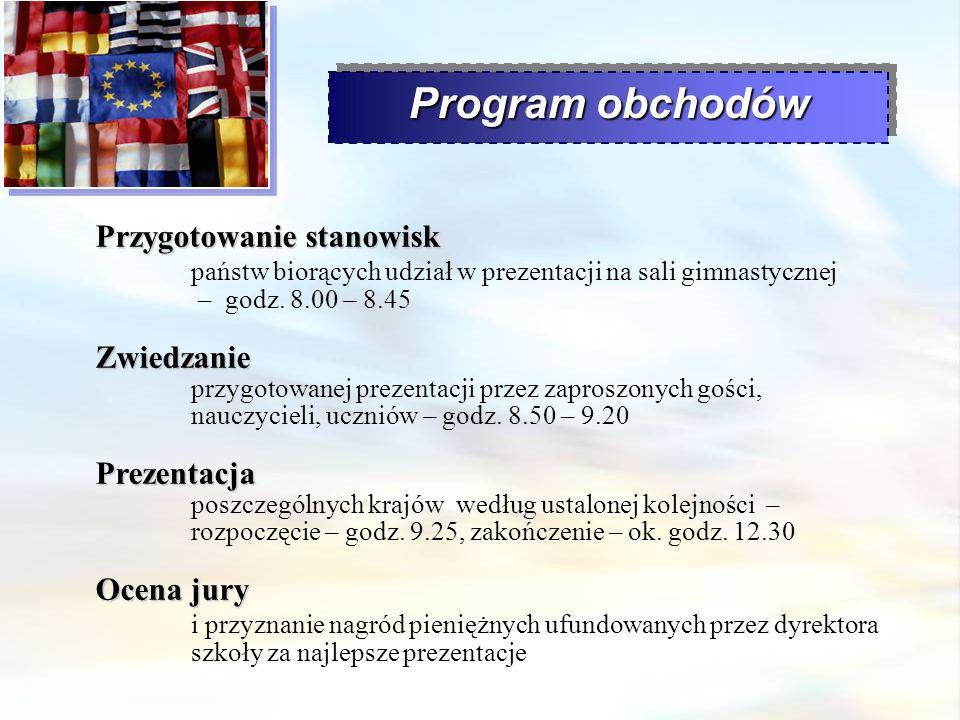 Program obchodów Przygotowanie stanowisk państw biorących udział w prezentacji na sali gimnastycznej – godz. 8.00 – 8.45.