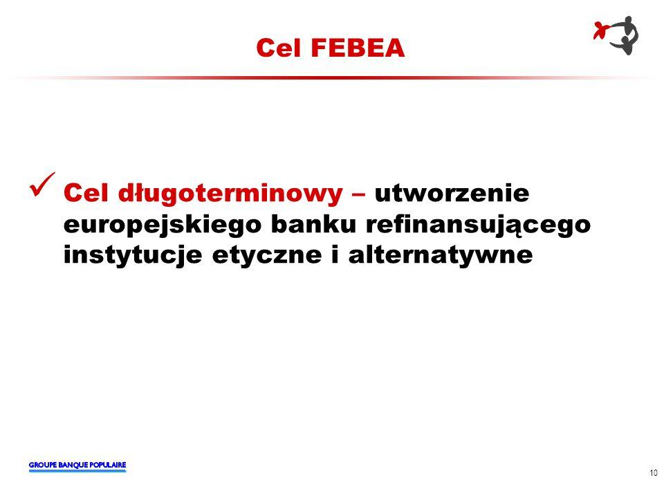 Cel FEBEA Cel długoterminowy – utworzenie europejskiego banku refinansującego instytucje etyczne i alternatywne.