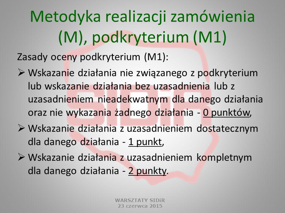 Metodyka realizacji zamówienia (M), podkryterium (M1)