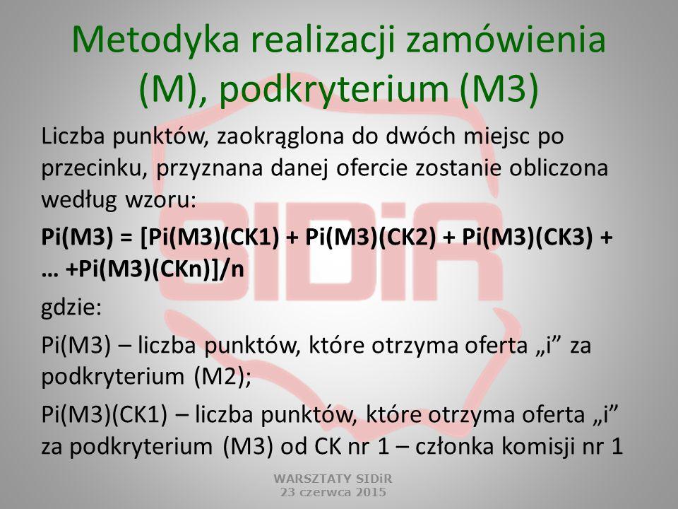 Metodyka realizacji zamówienia (M), podkryterium (M3)