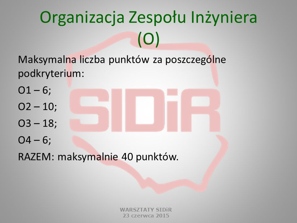 Organizacja Zespołu Inżyniera (O)
