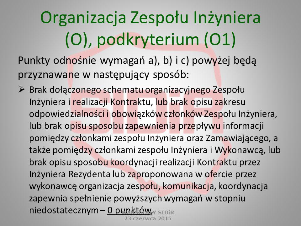Organizacja Zespołu Inżyniera (O), podkryterium (O1)