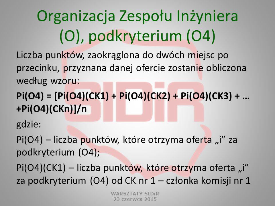 Organizacja Zespołu Inżyniera (O), podkryterium (O4)