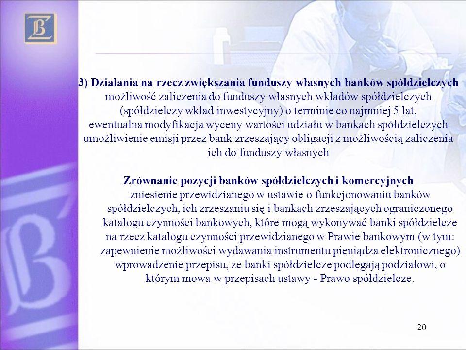 Zrównanie pozycji banków spółdzielczych i komercyjnych