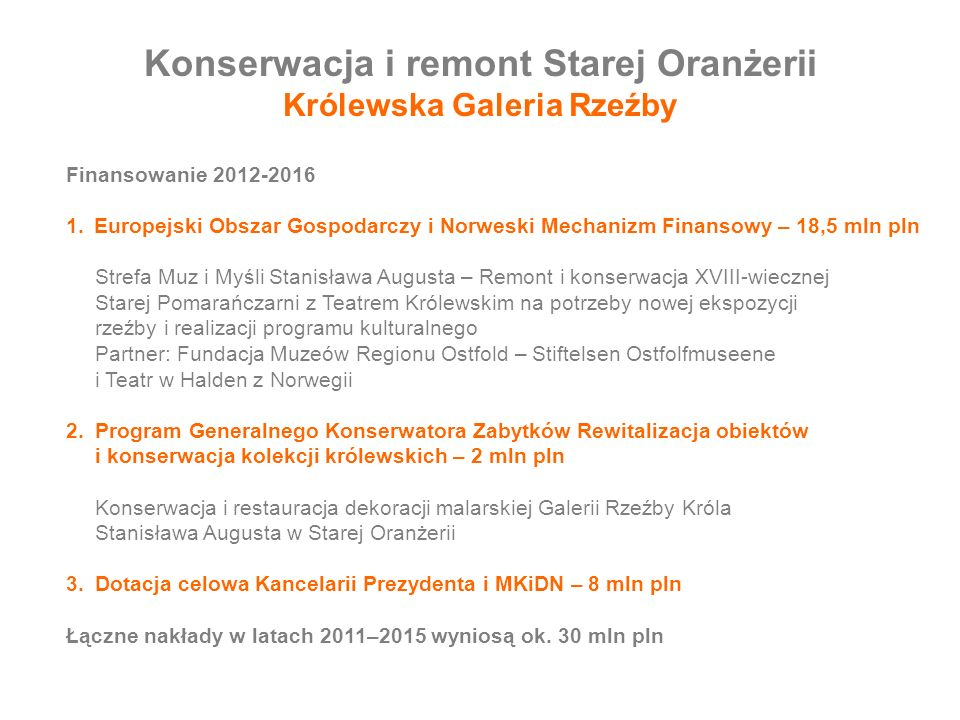 Konserwacja i remont Starej Oranżerii Królewska Galeria Rzeźby