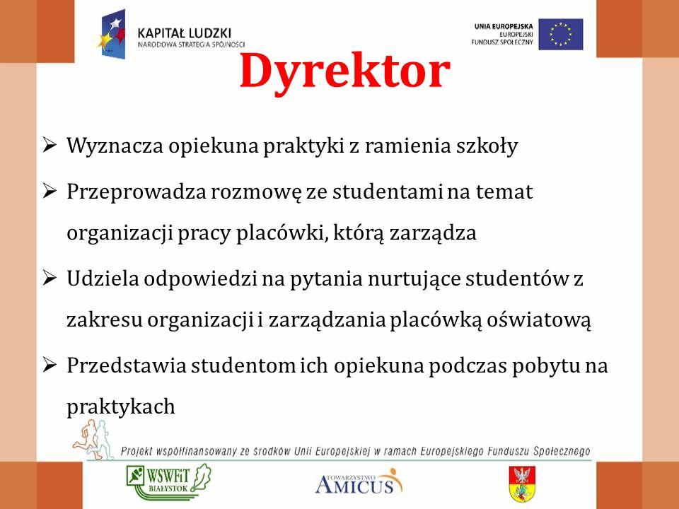 Dyrektor Wyznacza opiekuna praktyki z ramienia szkoły