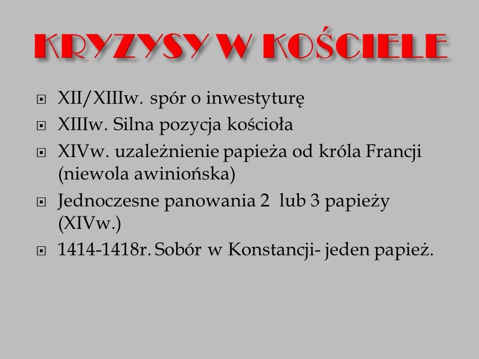 KRYZYSY W KOŚCIELE XII/XIIIw. spór o inwestyturę