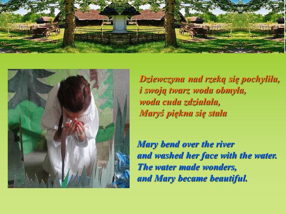 Dziewczyna nad rzeką się pochyliła,