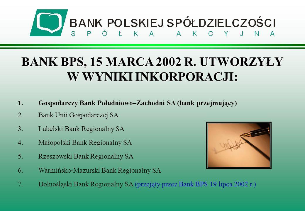 BANK BPS, 15 MARCA 2002 R. UTWORZYŁY W WYNIKI INKORPORACJI: