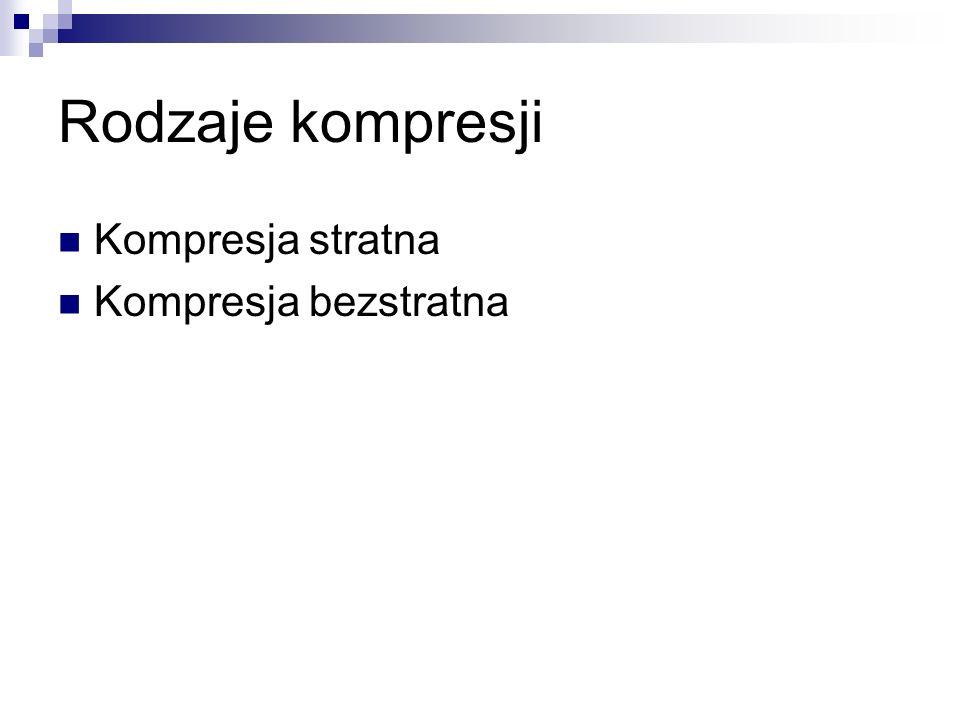 Rodzaje kompresji Kompresja stratna Kompresja bezstratna