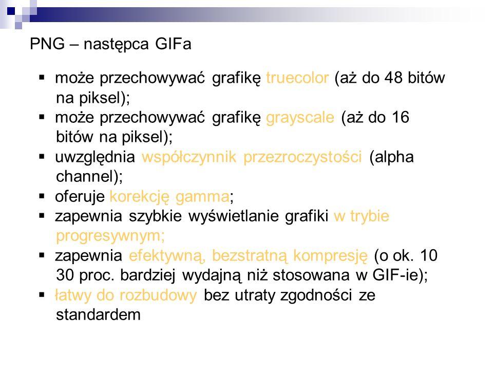 PNG – następca GIFamoże przechowywać grafikę truecolor (aż do 48 bitów. na piksel); może przechowywać grafikę grayscale (aż do 16.