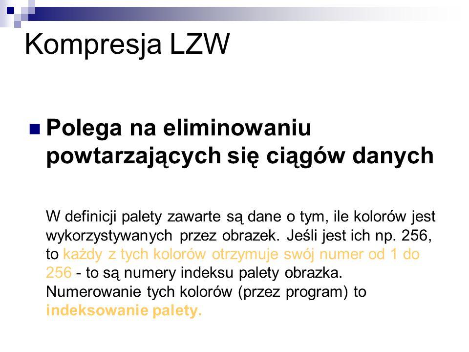 Kompresja LZW Polega na eliminowaniu powtarzających się ciągów danych