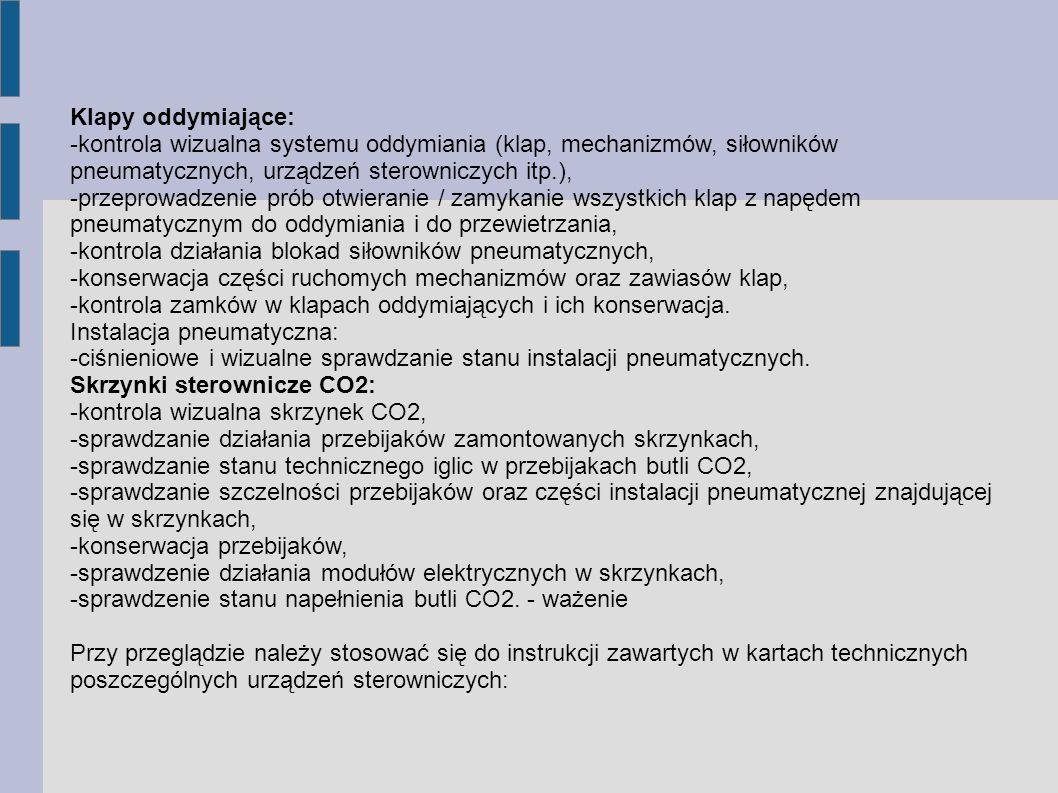 Klapy oddymiające: -kontrola wizualna systemu oddymiania (klap, mechanizmów, siłowników pneumatycznych, urządzeń sterowniczych itp.),