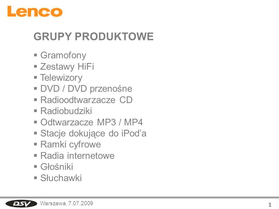 GRUPY PRODUKTOWE Gramofony Zestawy HiFi Telewizory DVD / DVD przenośne
