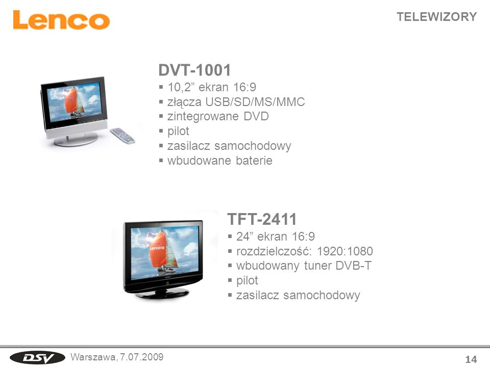 DVT-1001 TFT-2411 TELEWIZORY 10,2 ekran 16:9 złącza USB/SD/MS/MMC