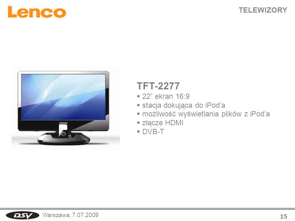 TFT-2277 TELEWIZORY 22 ekran 16:9 stacja dokująca do iPod'a